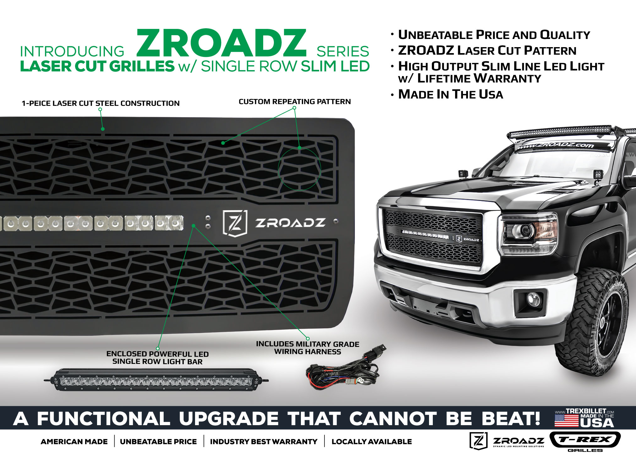 Zroadz series led light grille collection led light bar and inspired by off road rugged styling the main objective was to offer a full package grille made in the usa and at an unbeatable aloadofball Image collections