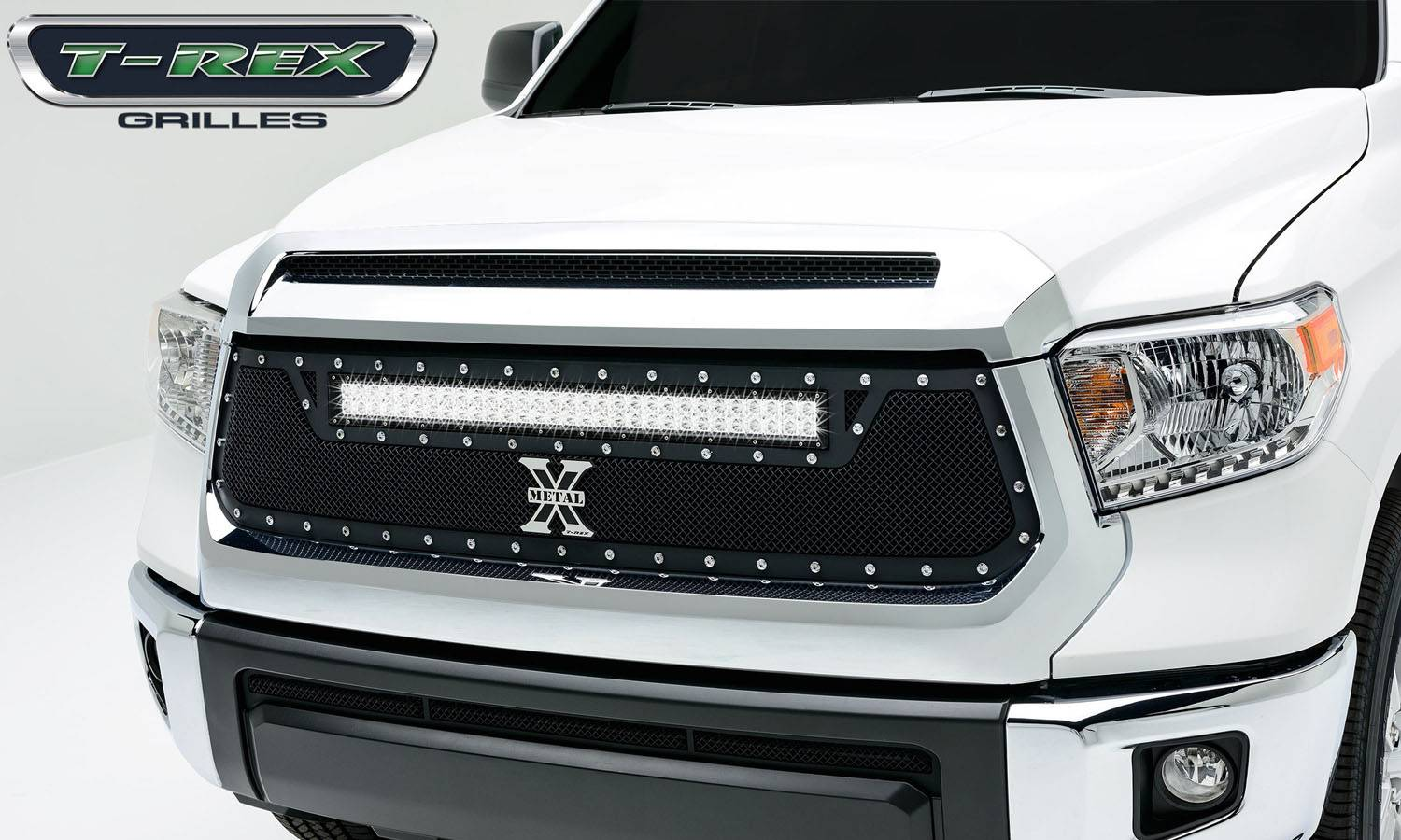 T rex toyota tundra torch series led light grille 1 30 led bar formed mesh main grille replacement 1 pc black powdercoated mild steel for off road
