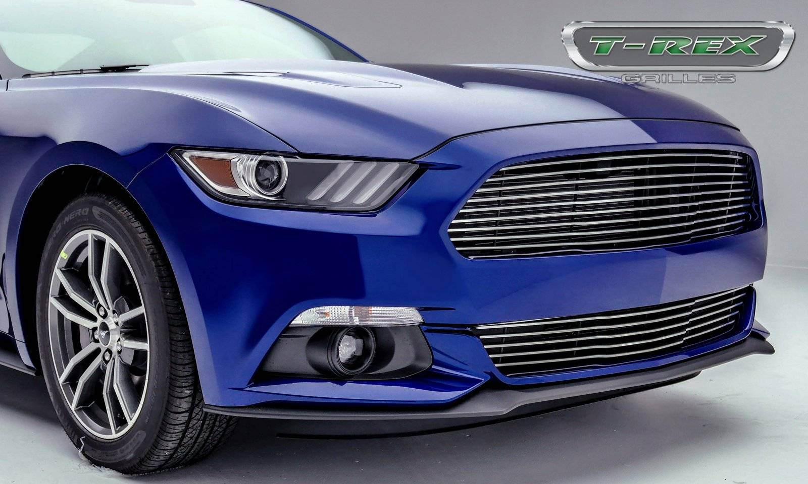T rex ford mustang gt laser billet grille main replacement with polished face pt 6215300