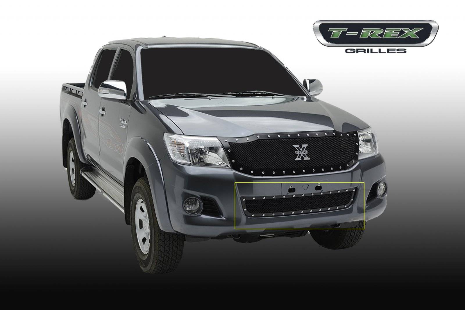 T rex toyota hilux x metal formed mesh grille bumper replacement 1 pc black powdercoated mild steel pt 6729091