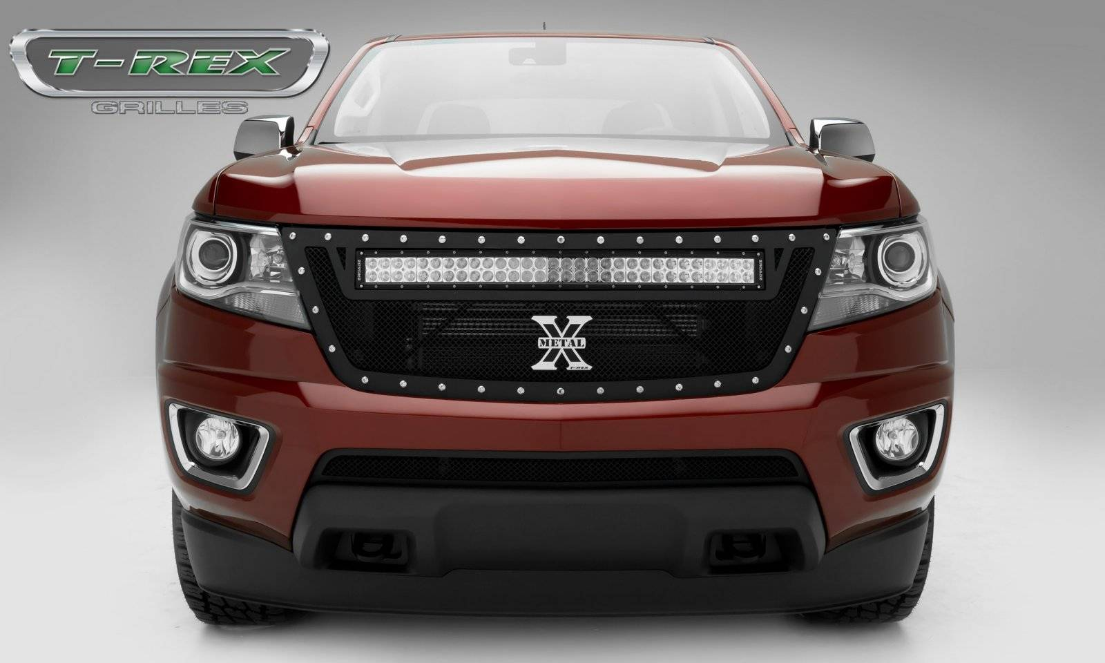T rex chevrolet colorado torch series main grille replacement with 1 30 led light bar for off road use only pt 6312671