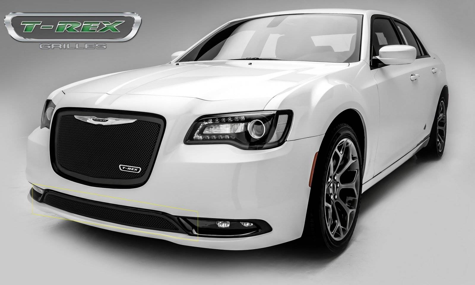 T rex chrysler 300 upper class series bumper grille overlay with black powder coat finish pt 52436