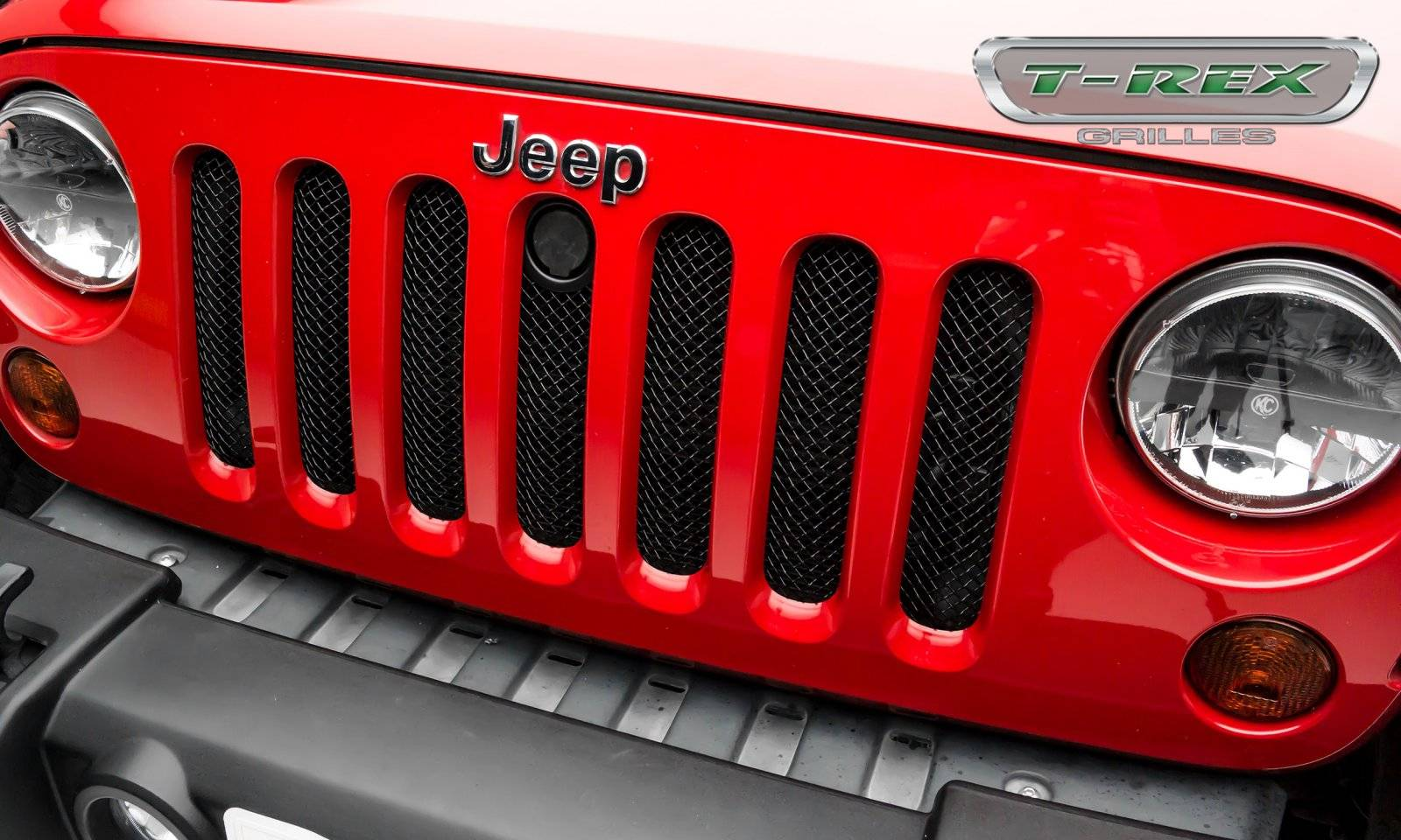 Jeep Wrangler Sport Series Formed Mesh Grille With Accommodating Hood Lock Outlet Black