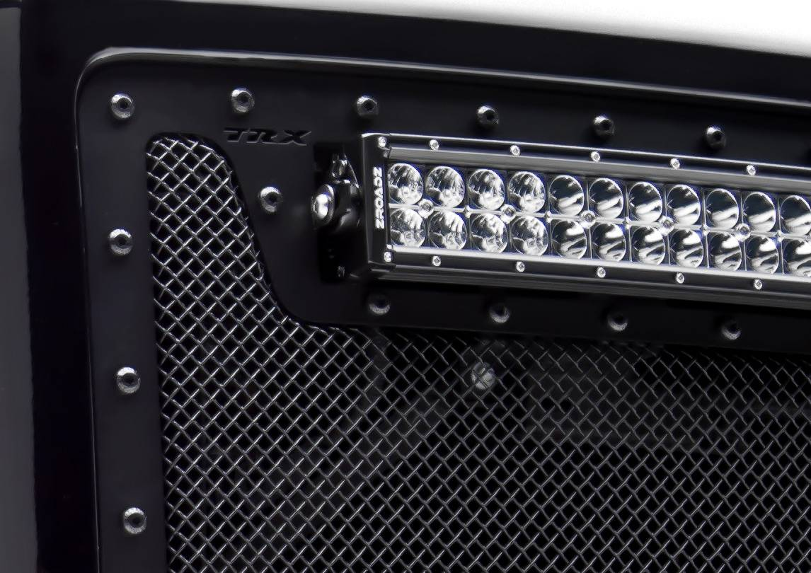 T rex chevrolet silverado torch series led light grille 4 6 led bar formed mesh grille main replacement 2 pc s black powdercoated with tactical