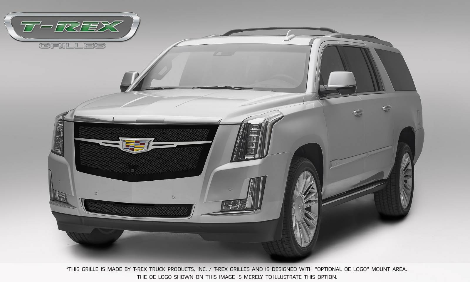 T rex cadillac escalade upper class main grille replacement black w brushed center trim piece pt 51184