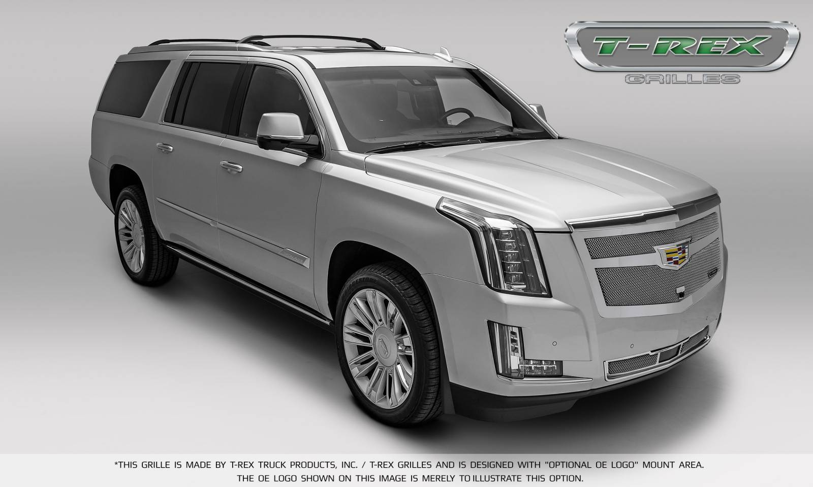 T rex cadillac escalade upper class bumper grille overlay for vehicles with adaptive cc chrome plated polished pt 57189