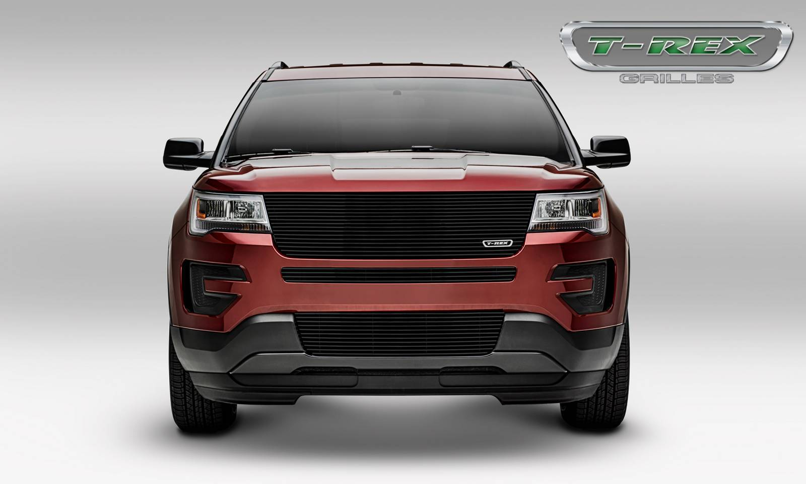 T rex ford explorer laser billet series replacement main grille w o logo recess black powder coated does not fit with forward facing camera pt 6216651