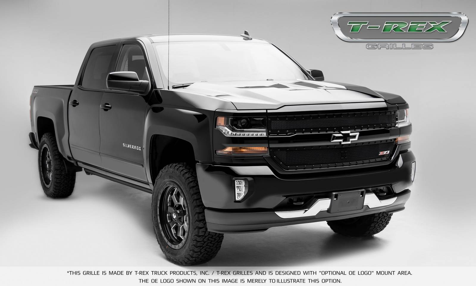 chevrolet silverado 1500 x metal series powder coated black 2 pc main grille overlay fits. Black Bedroom Furniture Sets. Home Design Ideas