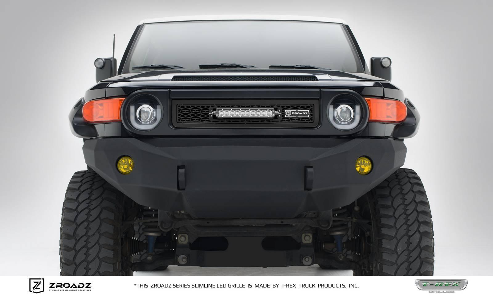 Toyota FJ Cruiser - ZROADZ Series - Main Insert - Grille w/ One 10 Inch  Slim Line Single Row LED Light Bar - Includes Universal Wiring Harness -  Part# ...