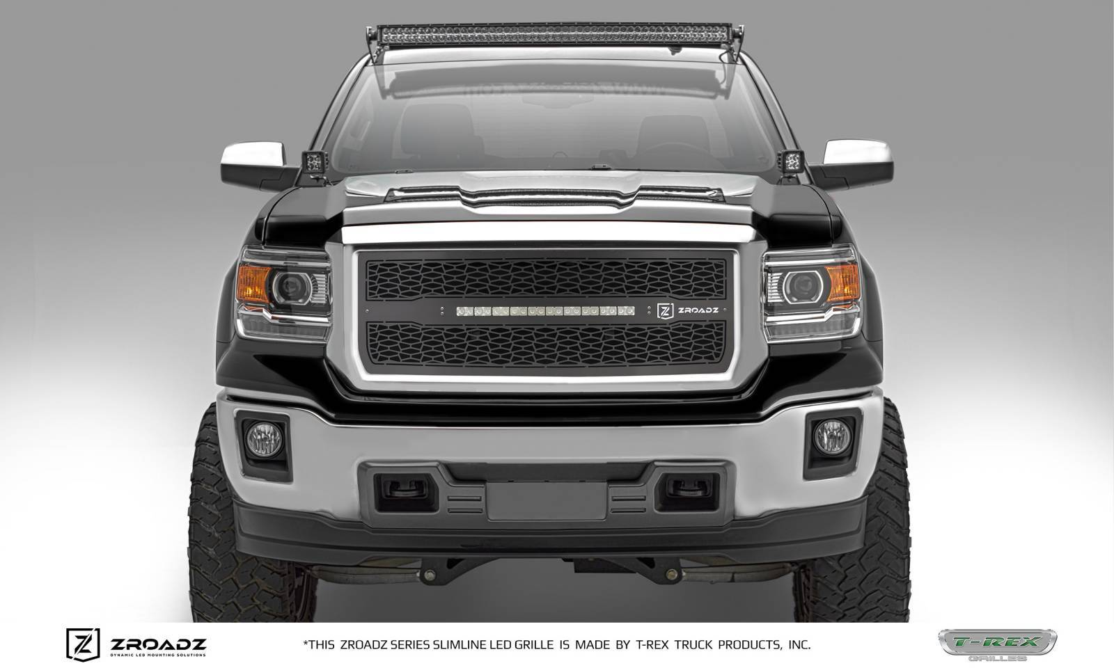 T rex gmc sierra 1500 zroadz series main insert grille w one 20 inch slim line single row led light bar includes universal wiring harness part