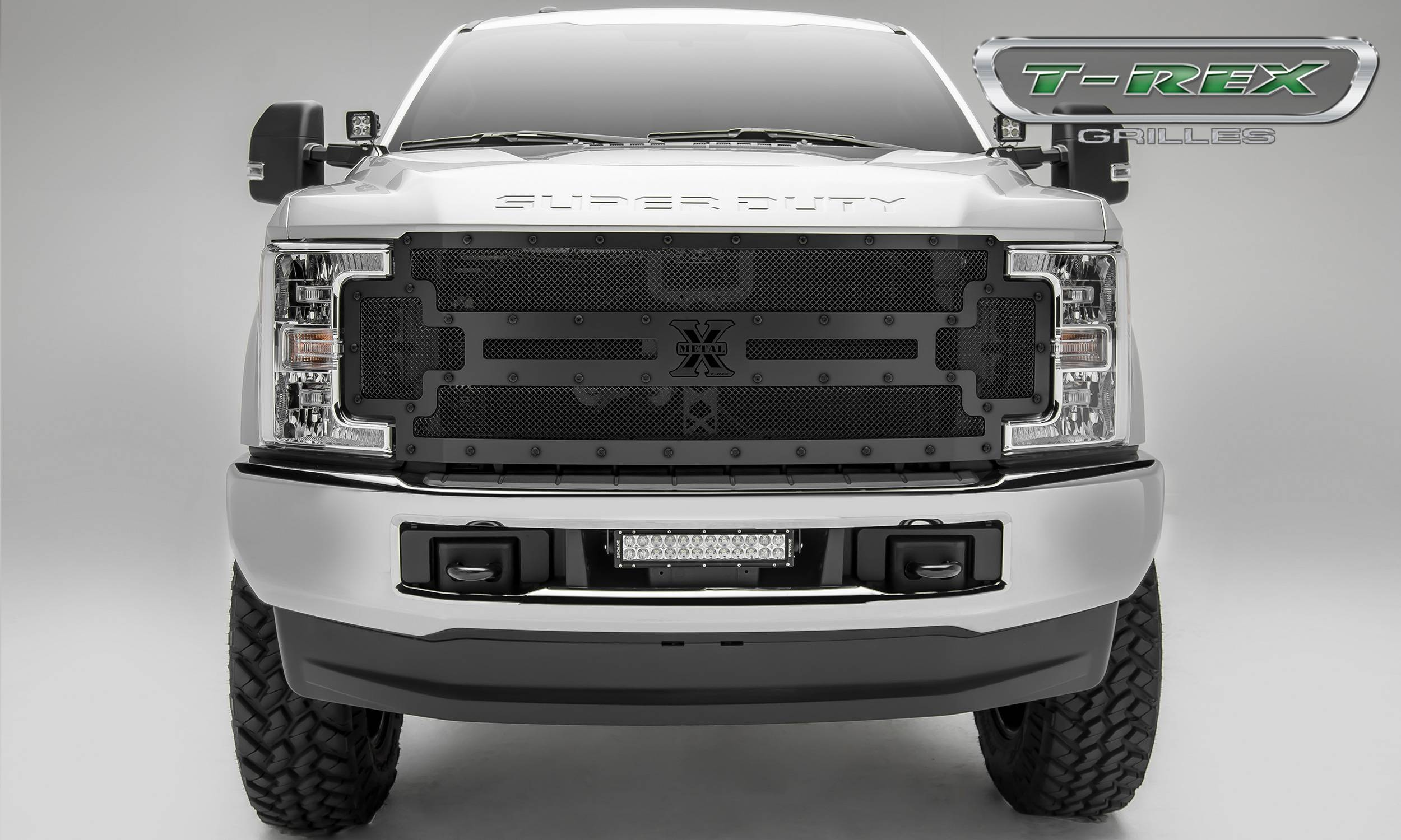 T rex ford f 250 f 350 super duty stealth metal main replacement grille steel frame w wire mesh black studded with black powdercoat finish pt