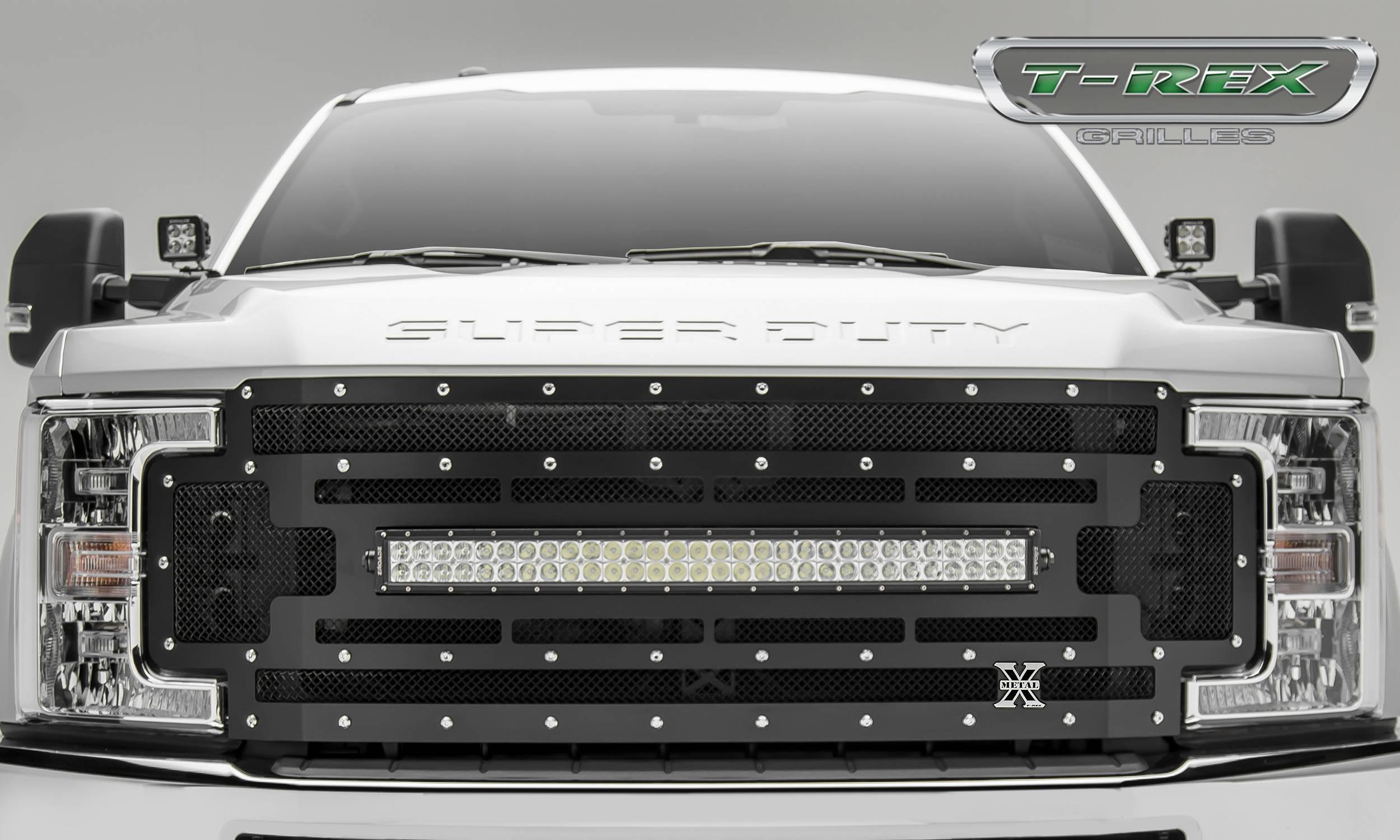Main grille replacement w 1 30 led light bar black mesh chrome studs
