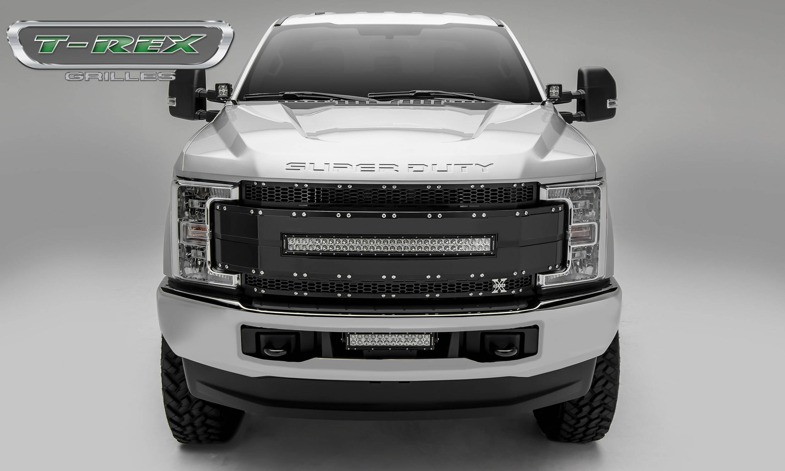 T rex ford f 250 f 350 super duty torch al series main replacement grille 1 30 led light bar black w black mesh black trim pt 6315481