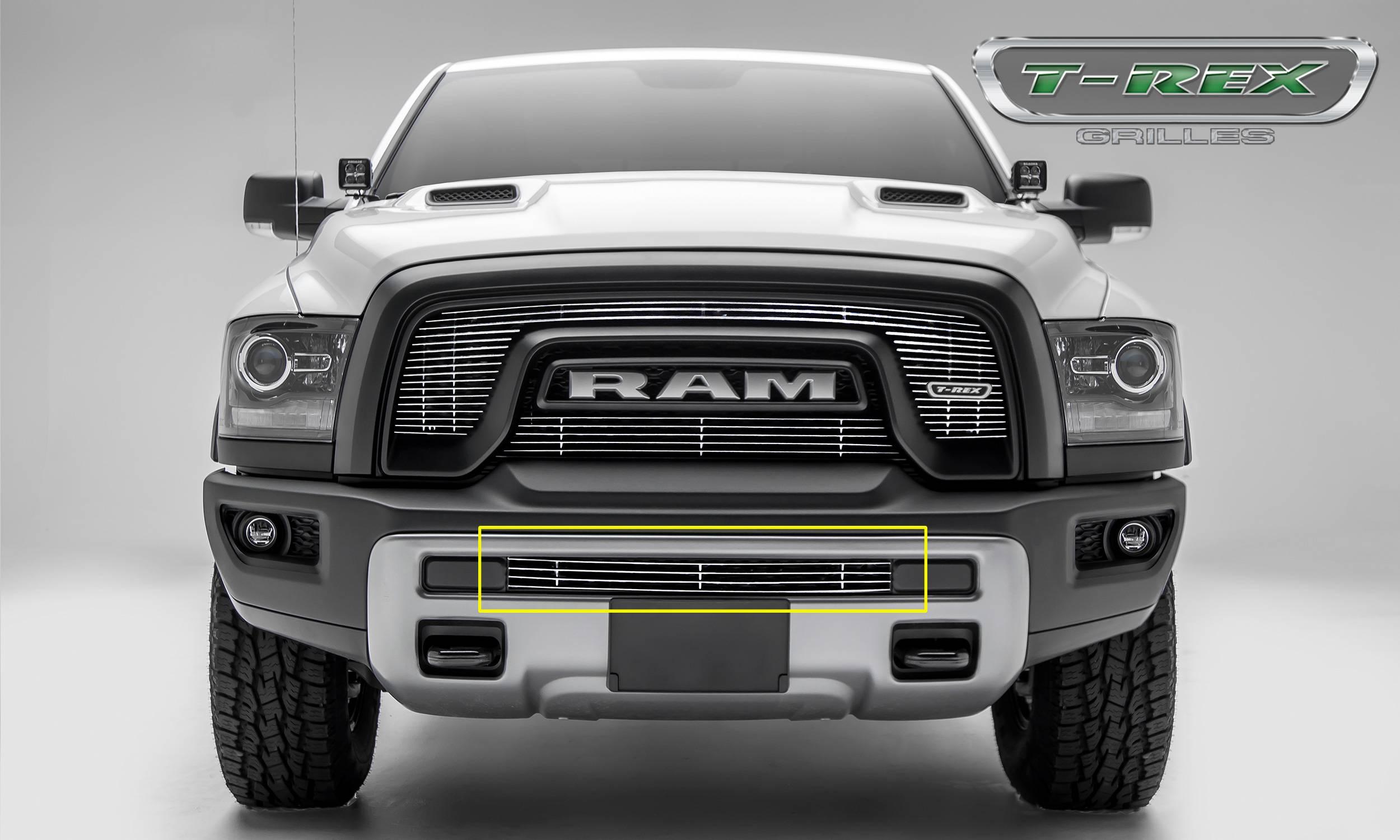 Ram 1500 Bumper >> 2015 2018 Ram 1500 Rebel Billet Bumper Grille Polished 1 Pc Insert Pn 254641