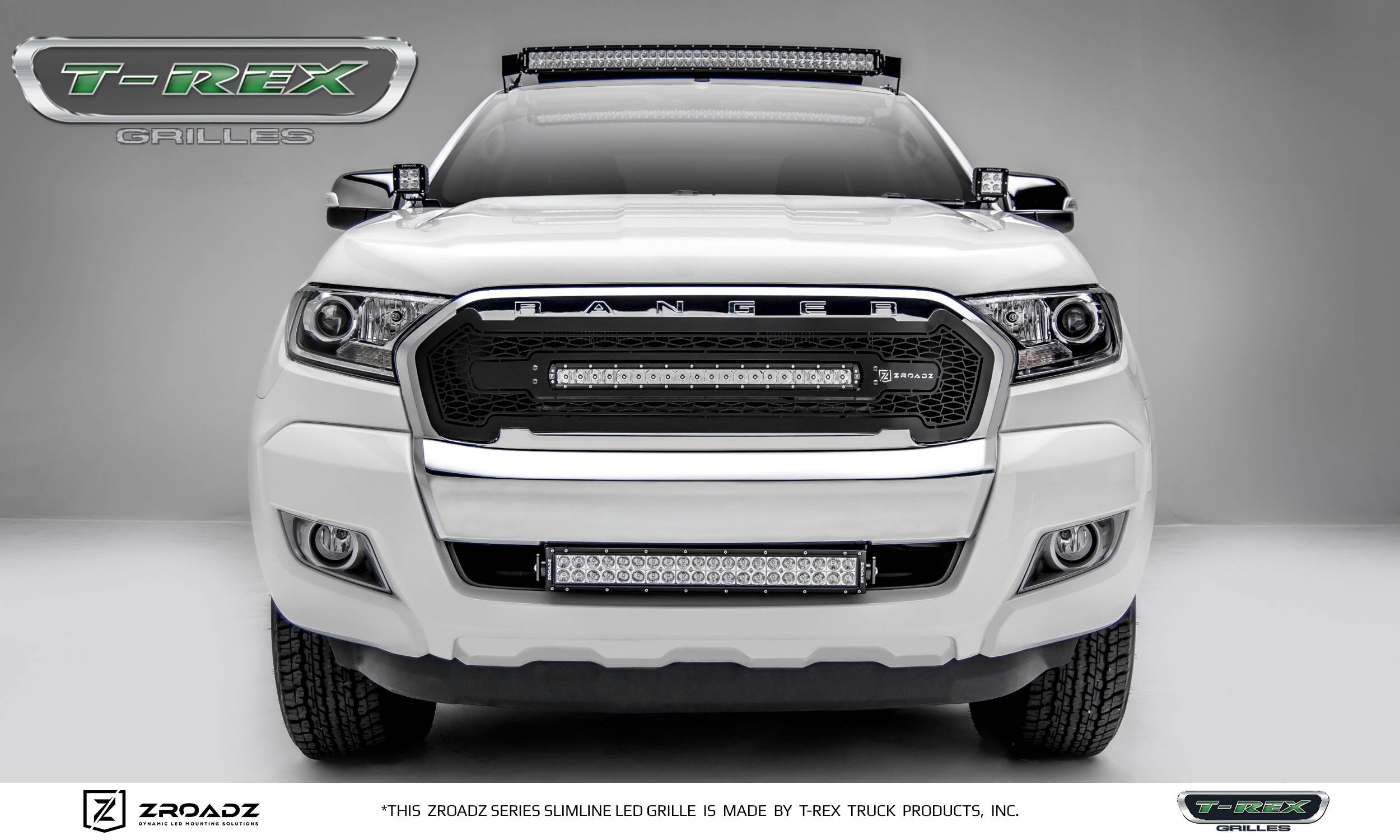 T rex ford ranger t6 zroadz series main replacement grille w one 20 inch slim line single row led light bar includes universal wiring harness
