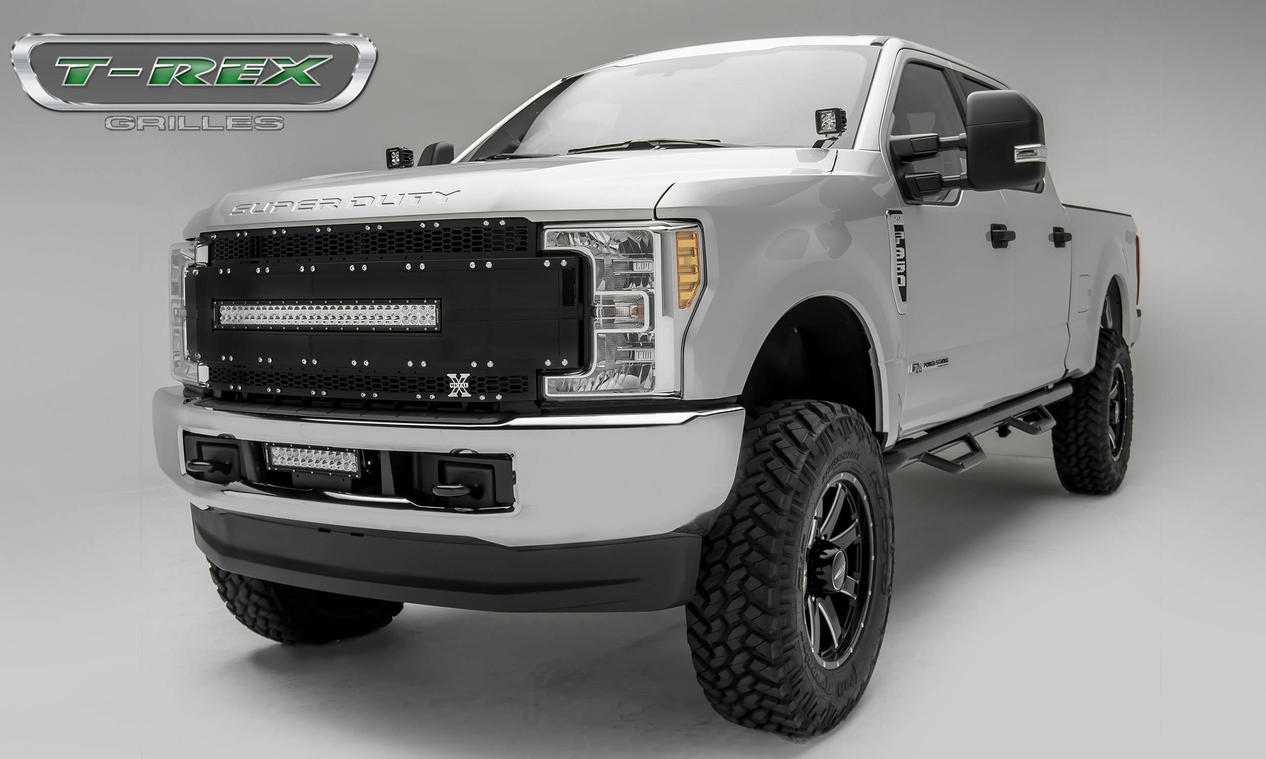 T rex ford f 250 f 350 super duty w camera provision torch al series main replacement grille 1 30 led light bar black w black mesh black