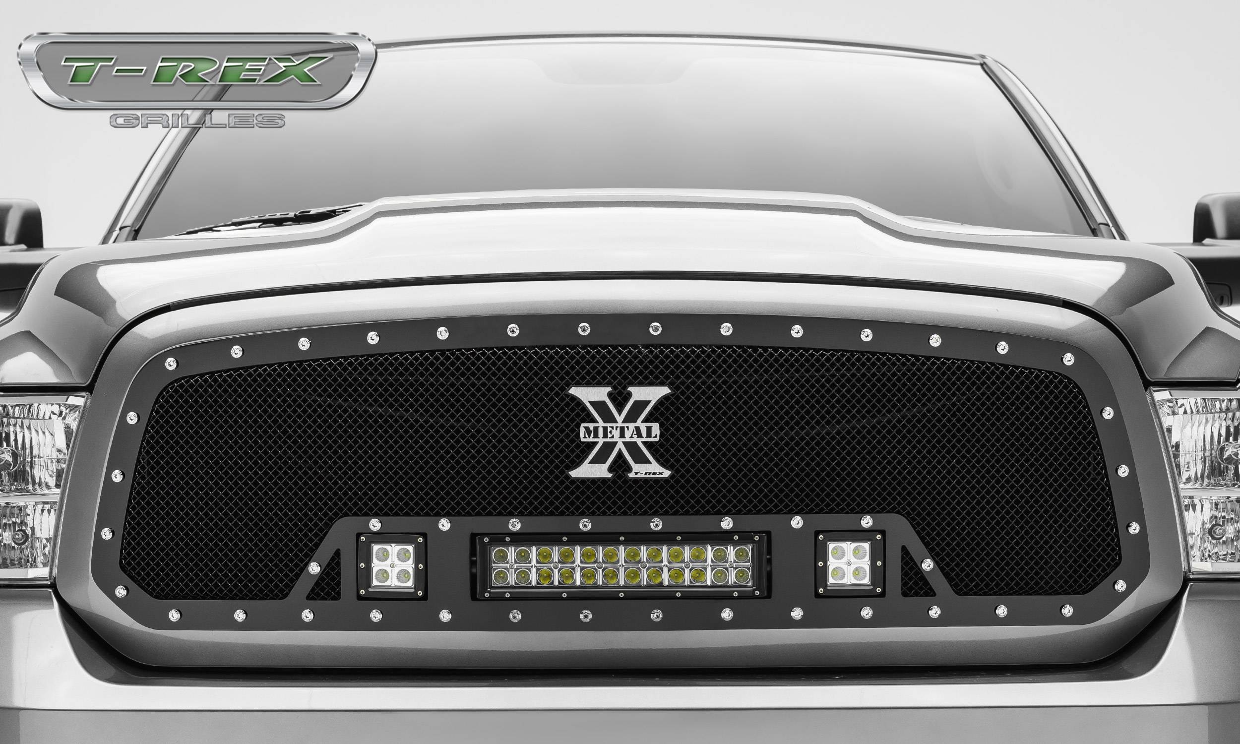 "Dodge Ram 1500 TORCH Series LED Light Grille Single 2 - 3"" LED Cubes 1 - 12"" Light Bar For off ..."
