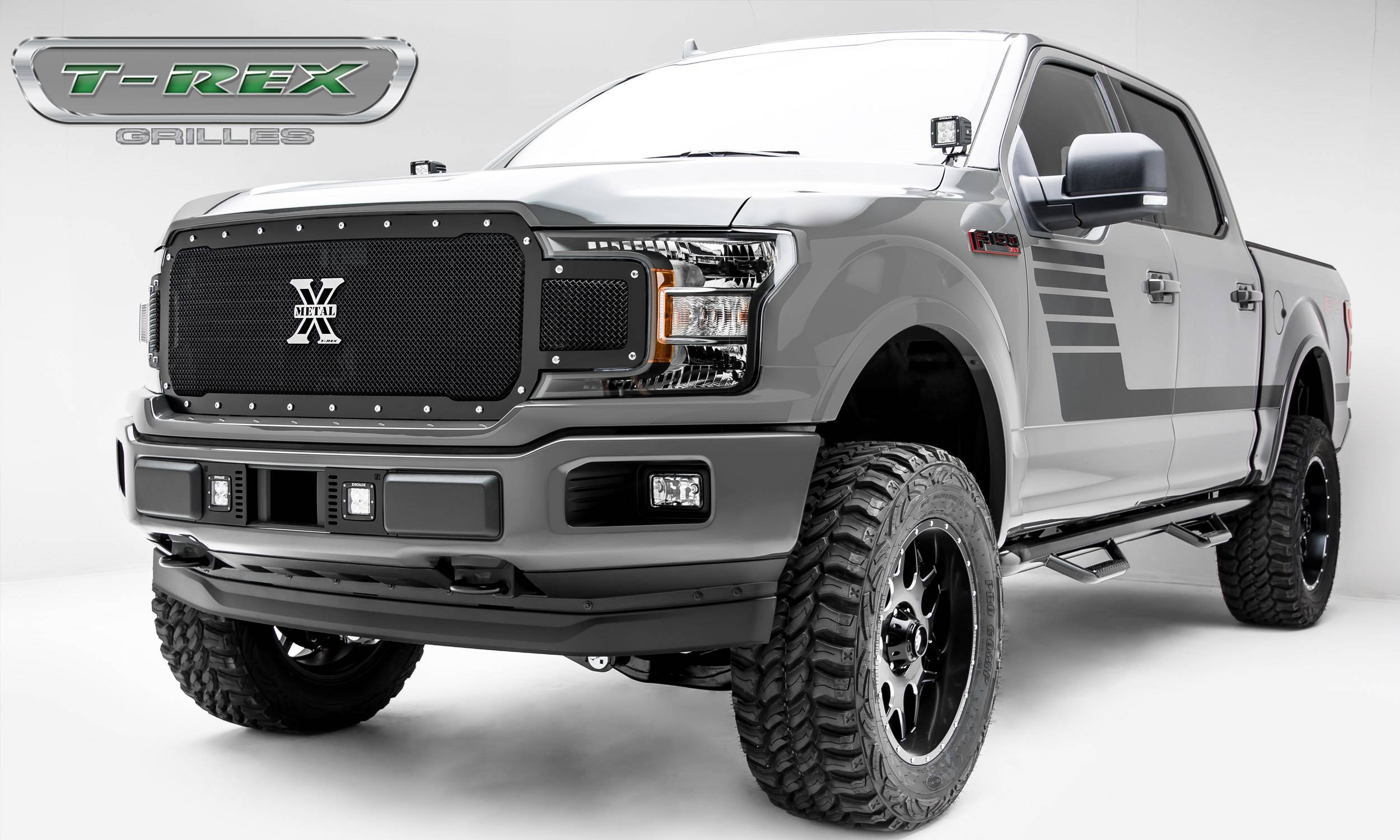 T-REX Ford F-150 - X-Metal Series - Main Grille Replacement - Chrome Studs with Black Powdercoat ...