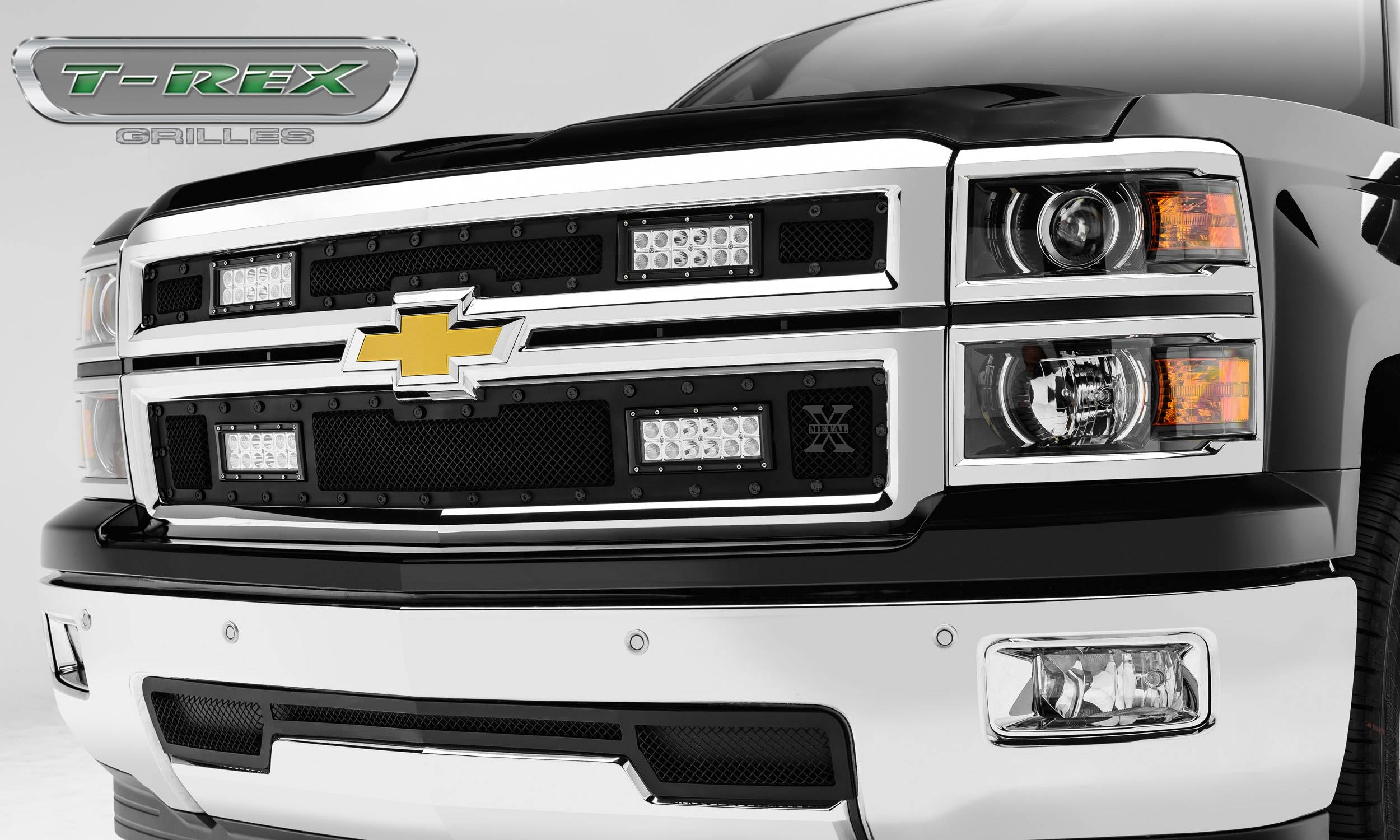 2014-2015 Silverado 1500 Stealth Torch Grille, Black, 2 Pc, Replacement,  Black Studs, Incl  (4) 6