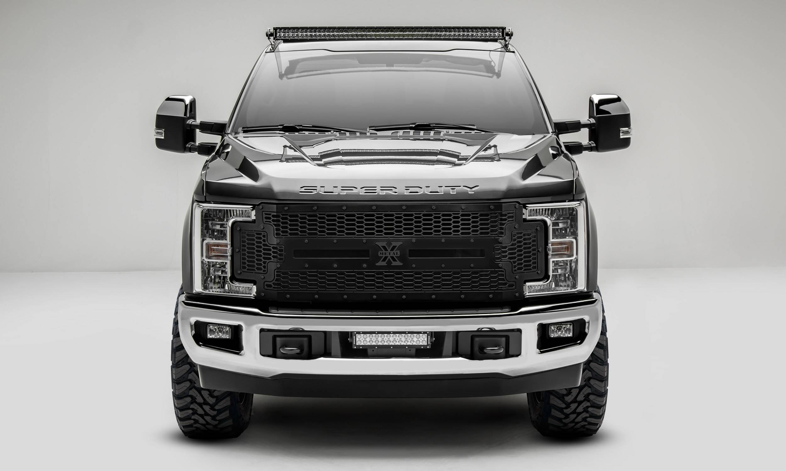 2017-2019 Super Duty Stealth Laser X Grille, Black, 1 Pc, Replacement, Black Studs, Does Not Fit Veh