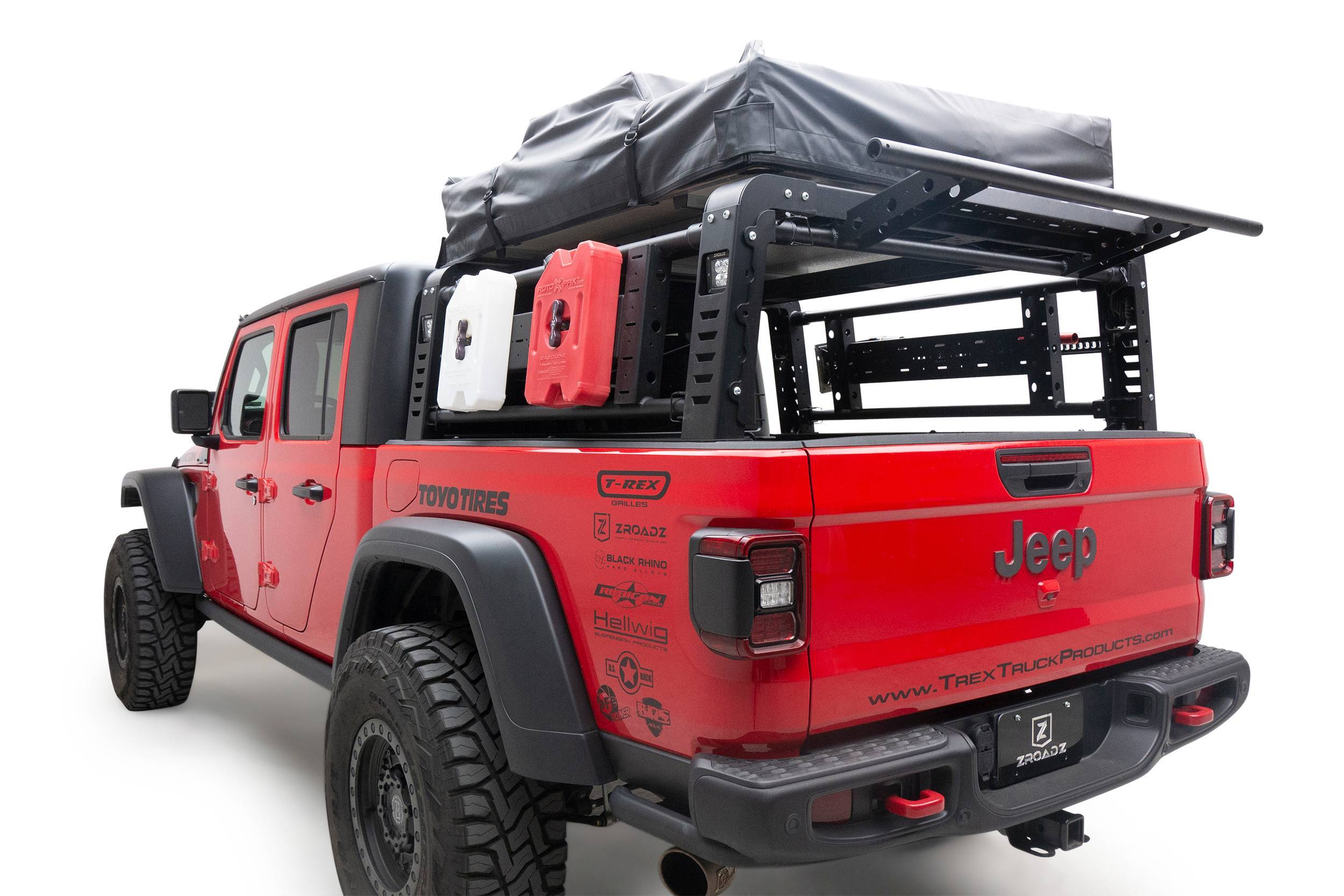 2019 2021 Jeep Gladiator Access Overland Rack With Three Lifting Side Gates For Use On Factory Trail Rail Cargo Systems Pn Z834211