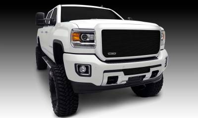 T-REX Grilles - GMC Sierra HD Billet, Main, Insert, 1 Pc, Black Powdercoated Aluminum Bars - Pt # 20211B
