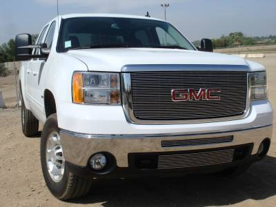 GMC Sierra HD Billet Grille Insert & Overlay/Bolt On - OE Logo Mounts on Billet 27 Bars - Pt # 21206