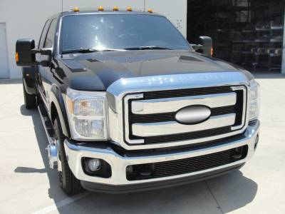 T-REX Grilles - Ford Super Duty Billet Grille Overlay/Bolt On - 4 Pc - All Black Powdercoat - Pt # 21546B