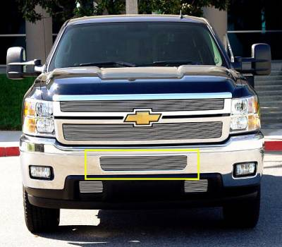 T-REX Grilles - 2011-2014 Silverado HD Billet Bumper Grille, Polished, 2 Pc, Bolt-On, Top Bumper Opening - PN #25114