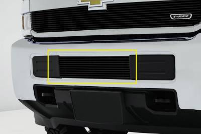 T-REX Grilles - Chevrolet Silverado HD Bumper Billet Grille Overlay/Bolt-on - All Black - Pt # 25122B