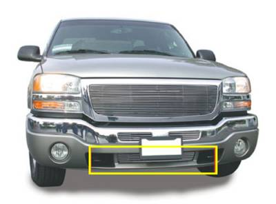 T-REX Grilles - 2003-2006 Sierra, 07 Classic Billet Bumper Grille, Polished, 1 Pc, Bolt-On, Between Tow Hooks - PN #25202