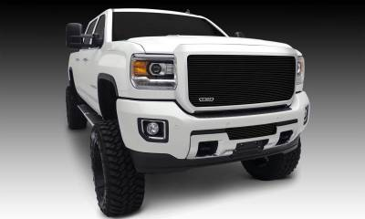 T-REX Grilles - GMC Sierra HD Billet, Bumper, Insert, 1 Pc, Black Powdercoated Aluminum Bars - Pt # 25211B