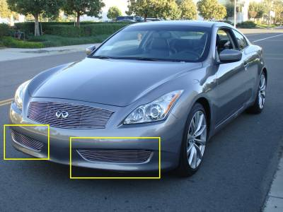 T-REX Grilles - 2008-2014 Infiniti G-37 Coupe Billet Bumper Grille, Polished, 2 Pc, Overlay - PN #25811