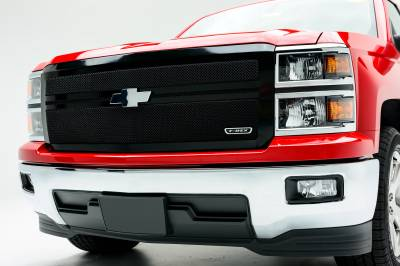 Chevrolet Silverado Upper Class Mesh Grille - All Black -  Main with 2 Bars Acrross, Replacement, 1 Pc - Pt # 51118
