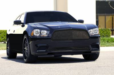 T-REX Grilles - Dodge Charger Upper Class Mesh Grille - Full Opening - All Black - With Formed Mesh Center - Pt # 51441