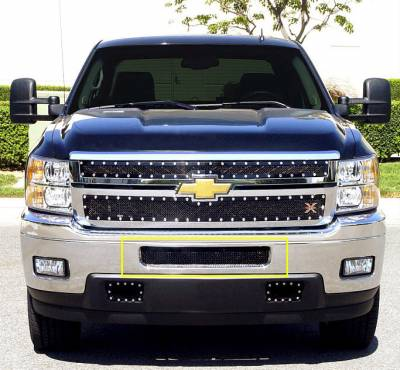 Chevrolet Silverado HD Upper Class Mesh Bumper Grille - Top steel bumper opening - All Black Mesh Only - No Frame - Pt # 52114