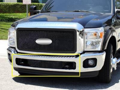 Ford Super Duty Upper Class Bumper Mesh Grille - Between Tow Hooks Mesh Only - No Frame - All Black Powdercoat - Pt # 52546