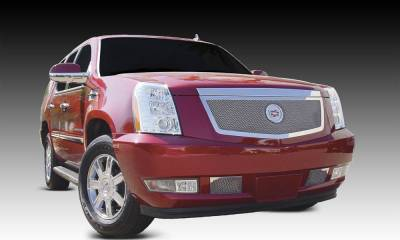 Cadillac Escalade, EXT, ESV Upper Class Polished Stainless Mesh Grille with Recessed Logo Area - Includes Polished Logo Plate to Re-Install OE Cadillac Grille Emblems - Pt # 54193