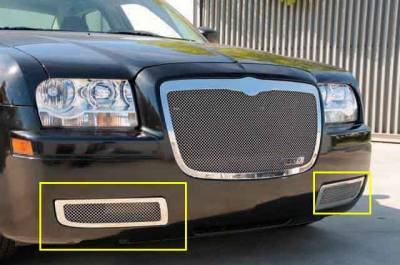 Chrysler 300 without factory fog lights Upper Class Polished Stainless Bumper Mesh Grille - Will not fit 300C or Touring w/ Fog Lights - Pt # 55472