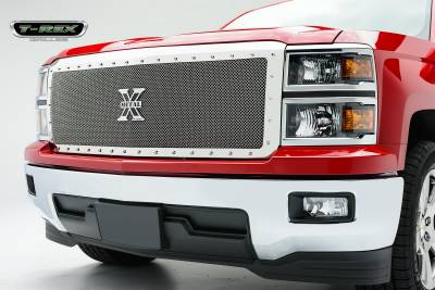 T-REX Grilles - 2014-2015 Silverado 1500 X-Metal Grille, Polished, 1 Pc, Replacement, Chrome Studs, Fulll Opening - PN #6711190