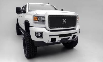 T-REX Grilles - 2015-2019 Sierra HD X-Metal Grille, Black, 1 Pc, Insert, Chrome Studs - PN #6712111