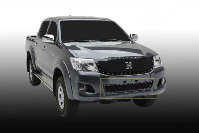 T-REX Grilles - 2012-2015 Toyota Hilux X-Metal Bumper Grille, Black, 1 Pc, Overlay, Chrome Studs - PN #6729091
