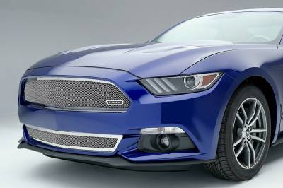 T-REX Grilles - 2015-2017 Mustang GT Upper Class Bumper Grille, Polished, 1 Pc, Overlay - PN #55530