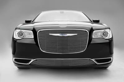 Chrysler 300 - Billet Series - Main Grille Overlay with Black Powder Coat Aluminum Bars and Polished Face - Pt # 21436
