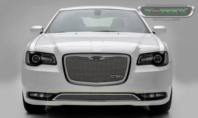 T-REX Grilles - 2015-2018 Chrysler 300 Upper Class Bumper Grille, Polished, 1 Pc, Overlay, Only fits models without adaptive cruise control - PN #55436