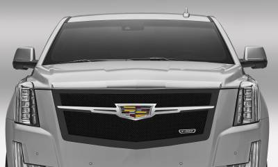 T-REX Grilles - Cadillac Escalade Upper Class Main Grille Replacement - Black w/ Chrome Plated Center Trim Piece - Pt # 51185