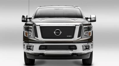 T-REX Grilles - Nissan Titan - Upper Class - 3 Pc Insert - Main Grille w/ Logo Mounts - Black - Pt # 51785