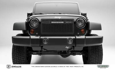 "T-REX Grilles - 2007-2018 Jeep JK, JKU ZROADZ Grille, Black with Black Trim, 1 Pc, Insert with (1) 10"" LED - PN #Z314831-10C"
