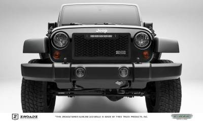 T-REX Grilles - 2007-2018 Jeep JK Main Grille, Including (1) 10 Inch ZROADZ LED Straight Single Row Slim Light Bar - Z314831-10T