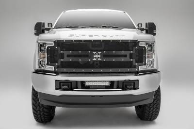 T-REX Grilles - T-REX Ford Super Duty - X-METAL - Main Replacement Grille - Steel Frame w/ Wire Mesh - Studded - Pt # 6715471